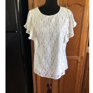 Merona White Lace Flutter Sleeve Top Size Large